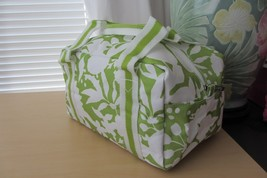 Clinique Lime Green White Leaves Pattern Cosmetic Case Skincare Bag - $15.83