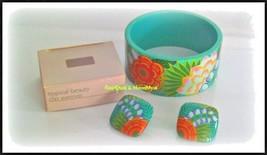 Vintage Avon Tropical Beauty island flowers clip earrings & bangle brace... - $15.84