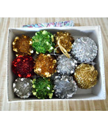 """11 Christmas ornaments 9 are 3"""" round, 2 are 3.5"""" round Gold, Green, Sil... - $8.17"""