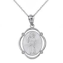 "925 Sterling Silver Santa Muerte Oval CZ Pendant Necklace - 16"", 18"", 20... - $23.66+"