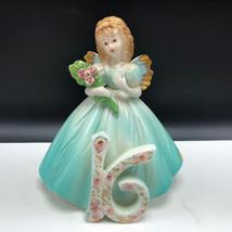 JOSEF ORIGINALS FIGURINE birthday angel through years statue 16 green fl... - $37.62