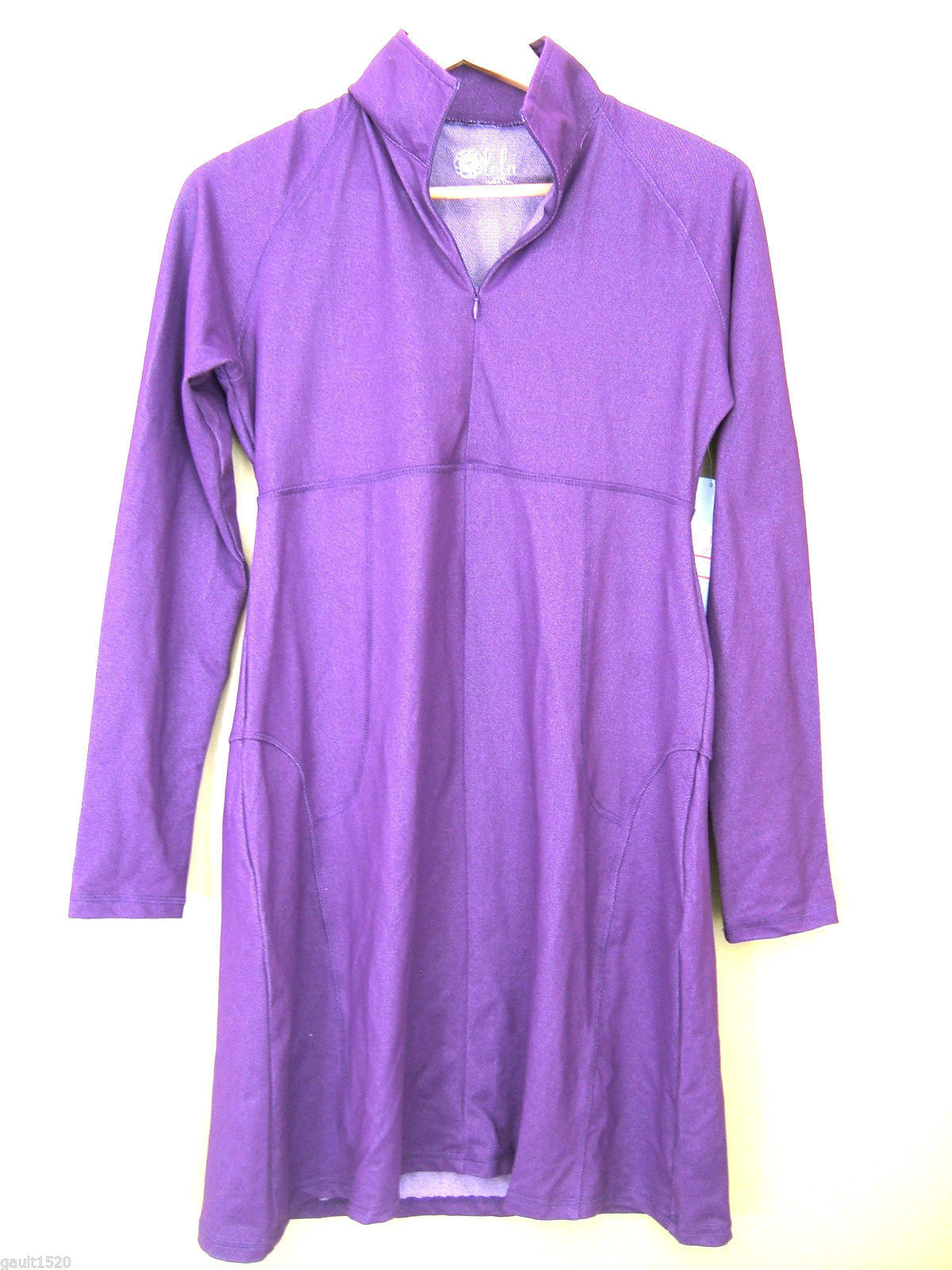 NWT Lola Gorgeous Yoga Athletic Stretch Tunic Top Purple Zip Long Jacket S $138 - $78.00