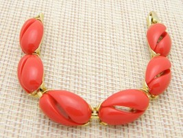 Gold Tone Red Thermoset Plastic Mid Century Modern Bracelet Vintage - $29.70