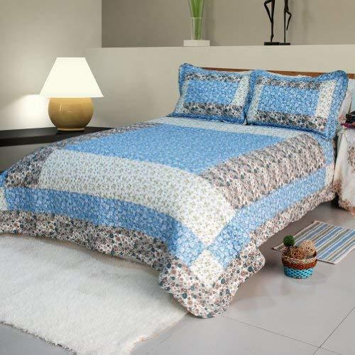 [Midsummer Dream] Cotton 2PC Floral Vermicelli-Quilted Patchwork Quilt Set (Twin
