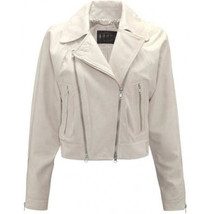 Customize White Women's Jacket With Leather Double Zipper Brando Outer Wear - $137.19