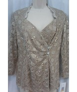 Alex Evenings Top Sz S Champagne Lace Sequin Evening Cocktail Dinner Top - $45.08