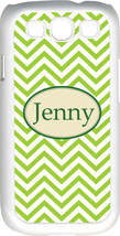 Monogrammed Green Chevron Design Samsung Galaxy S3 Case Cover - $15.95
