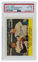 Mays Snider 1958 Topps Rival Fence Busters Baseball Card PSA VG-EX 4 - $155.42