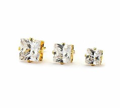 Stud Earrings CZ Square Women Fashion Jewelry Cubic Rhinestone Post Gold... - $3.71+