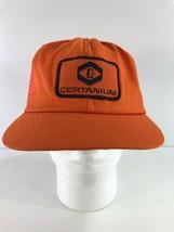 Vintage Certanium Welding Co Patch Truckers Hat Cap Orange Snapback - $28.71