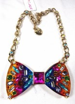 Betsey Johnson Bow Statement Multi Rainbow Color Necklace rhinestone Luc... - $79.94