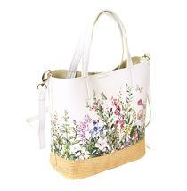 Women's Two Tone Wicker Floral Pattern Handbag Vegan Leather 2 in 1 Tote Purse image 3