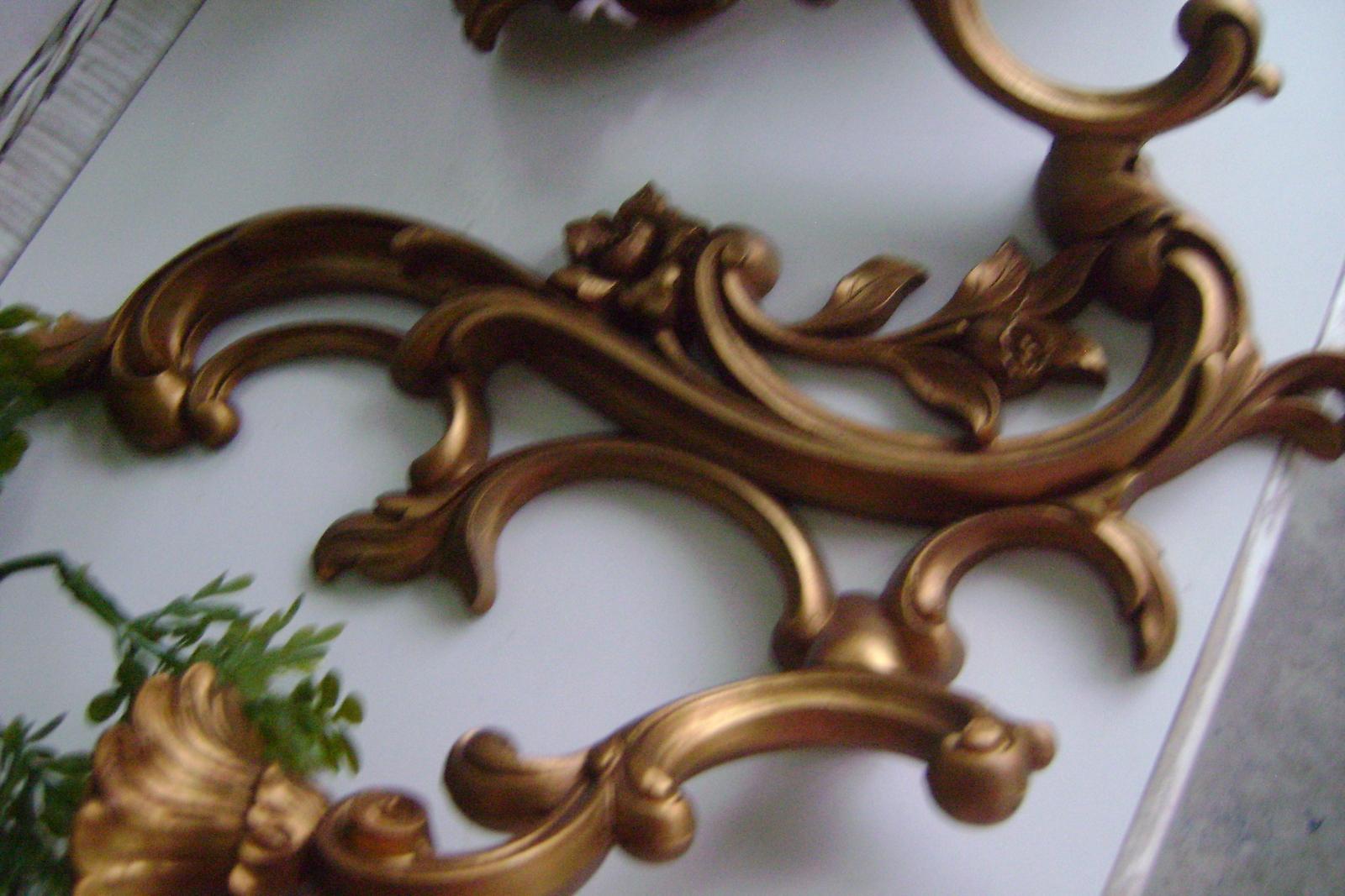 Mid - Century Dart Hollywood Regency Goldtone Double Armed Sconces