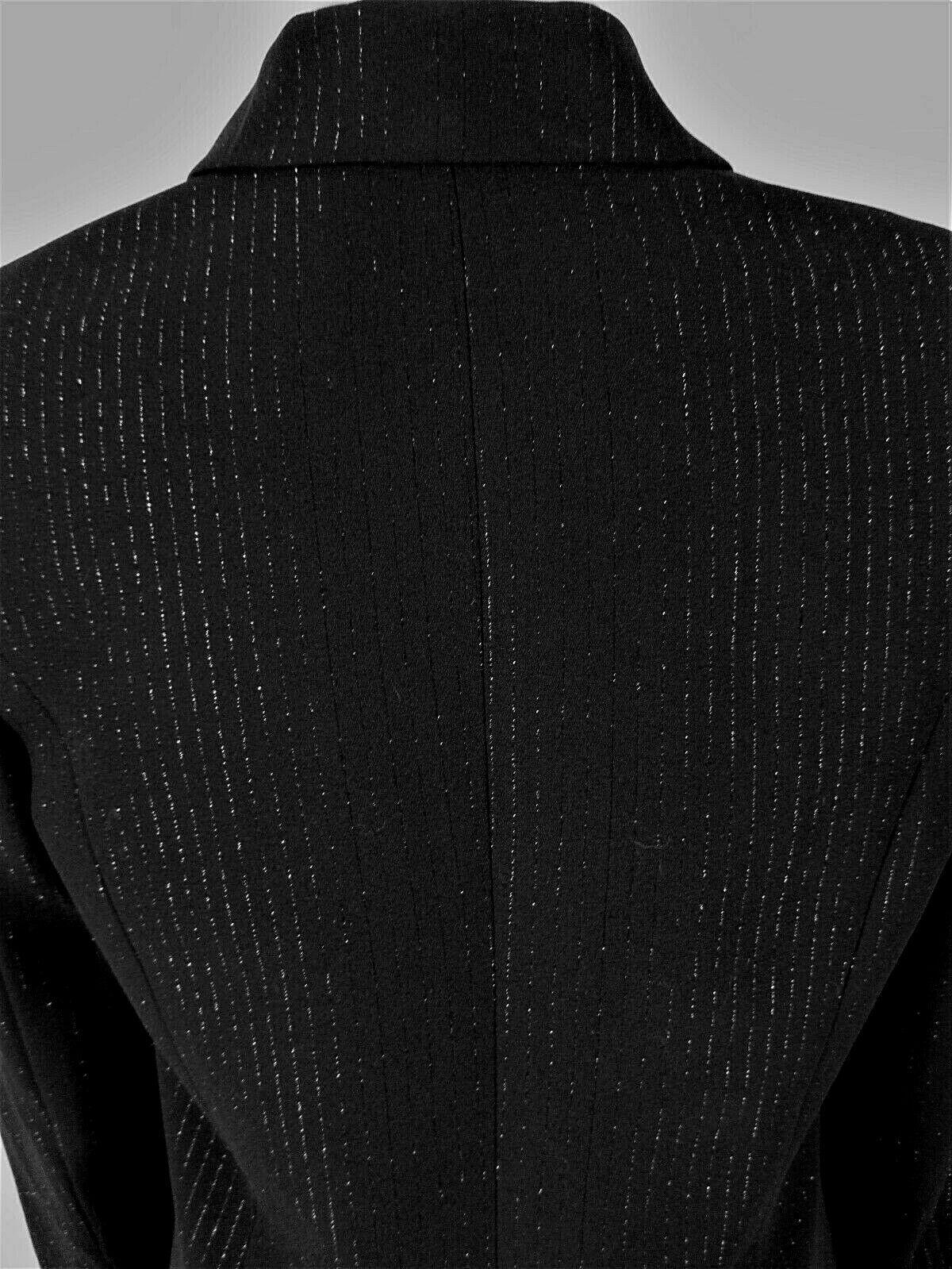 ANNA CAROLE womens Sz 8 L/S black silver THREADS button down LINED jacket (B4)
