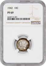 1942 10c NGC PR 69 - Mercury Dime - Beautiful Rainbow Toning! - $15,714.00