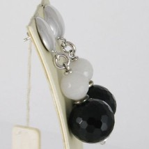 Earrings silver 925 plated with rhodium pendants with onyx black and grey quartz image 2