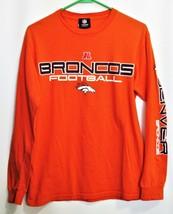 NFL Denver Broncos AFC Orange T-Shirt Long Sleeve Adult Medium 100% Cotton - $16.83