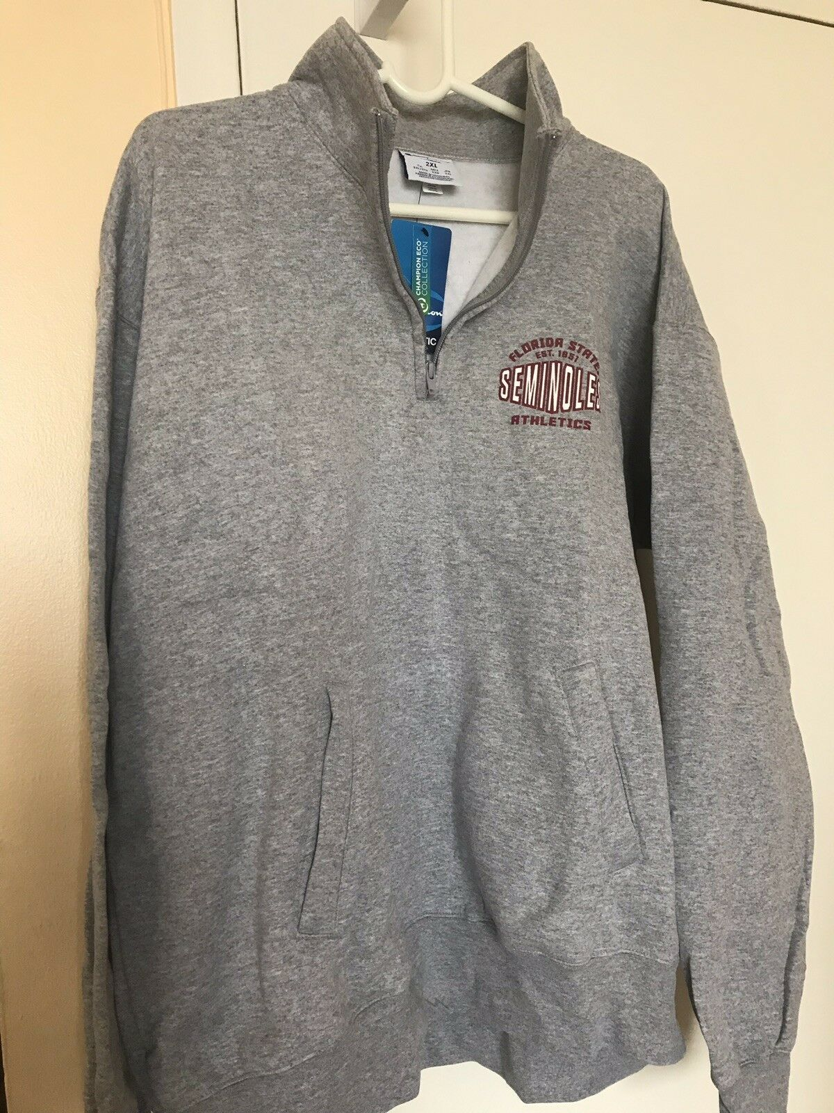 Florida State Seminoles Men' Sweatshirt 1/4 Zip Fleece Champion Size 2XL