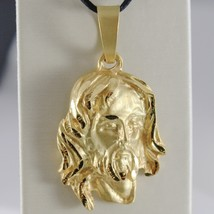18K YELLOW GOLD JESUS FACE PENDANT CHARM 45 MM, 1.8 IN, FINELY WORKED ITALY MADE image 1
