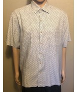 Men's Nat Nast Luxury Originals Short Sleeve Silk Shirt Large White Blac... - $26.11