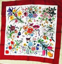 GUCCI Scarf Stole Floral Flower Pattern Silk 100% Woman Luxury Auth New ... - $401.74