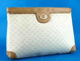 Authentic GUCCI GG Ivory PVC Canvas, Brown Leather Hand Clutch Bag Italy Vintage - $147.51