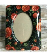 Zinnia Flower Porcelain 5.5″ x 3.5″ Standing Picture Frame Table Shelf Red Blue - $14.99
