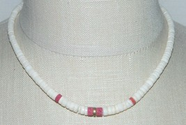 VTG Puka Shell Red Coral Brass Disc Hawaii Surfer Choker Necklace - $39.60