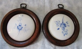 Blue Roses Plaques Set Hand Painted Lasting Products Inc Vintage 1970s - $22.76