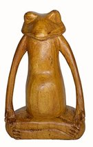 Meditating Yoga FROG Statue Hand Painted Carved Wood Praying Lotus - $37.56