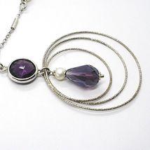 Collar Plata 925 ,Amatista Violeta, Triple Círculo Colgante, Trabajado image 3