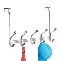 iDesign York Metal Over the Door Organizer, 5-Hook Rack for Coats, Hats, Robes,  image 3