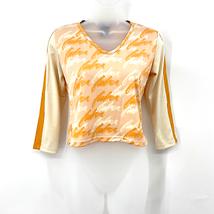 FUBU Sports Streetwear 90s VTG Orange Cream Long Sleeve Crop Top Size S ... - $37.05