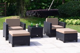 5 PC Wicker Rattan Chair Sofa Cushioned Patio Lawn Sectional Ottoman Set... - $329.99