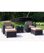 5 PC Wicker Rattan Chair Sofa Cushioned Patio Lawn Sectional Ottoman Set... - $329.98
