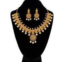 NEW TRADITIONAL BOLLYWOOD BRIDAL NECKLACE JEWELRY WITH MAGENTA, GREEN AN... - $49.49