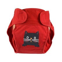 Lovely Cat Baby Leak-Free Diaper Cover with Magic Tape (6-12 Months, Red)
