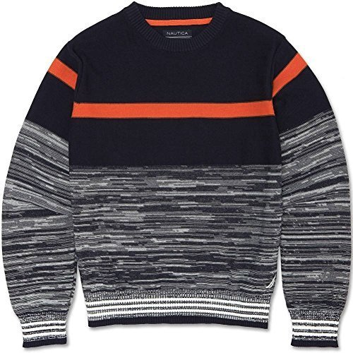Nautica Boy's 4-7X Striped Knit Pullover Sweater Sport Navy (Small 4)