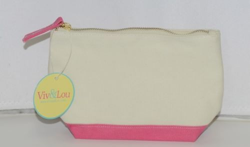Viv and Lou M715VLHTPK Pink Sullivan Collection Canvas Cosmetic Bag