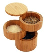 Tabletop Spices/Sea Salt Swivel Top 3 Tiered Bamboo Round Storage Box BR... - £31.71 GBP