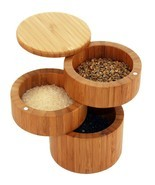 Tabletop Spices/Sea Salt Swivel Top 3 Tiered Bamboo Round Storage Box BR... - $38.94