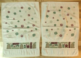2 VINTAGE 1980's CHRISTMAS HOLIDAY KITCHEN TOWEL HAND TOWEL - SNOWFLAKES... - $13.85