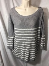 #s382--  Ann Taylor Loft gray sweater knit top, size L.  - $8.60