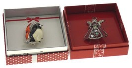 Action Alley Fashion Broach Pin Set 2 Penguin Angel Gift Box Holiday Xmas Gift - $3.81
