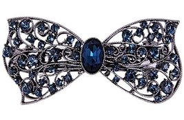 [Blue Bowknot] Retro Hollow Hair Barrette Rhinestones Hair Decoration,1.... - $18.99