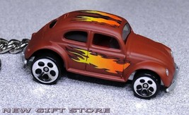 KEY CHAIN RING BROWN WITH FLAME VOLKSWAGEN VW BEETLE OLD BUG NEW CUSTOM ... - $15.98