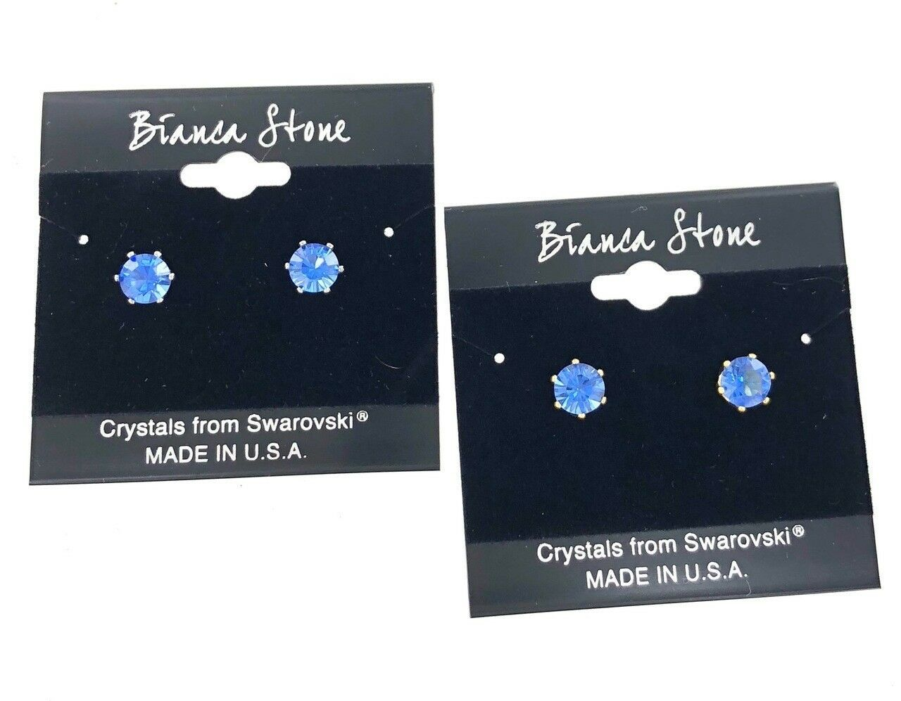 Bianca Stone September Birthstone Stud Earrings With Crystals Made By Swarovski