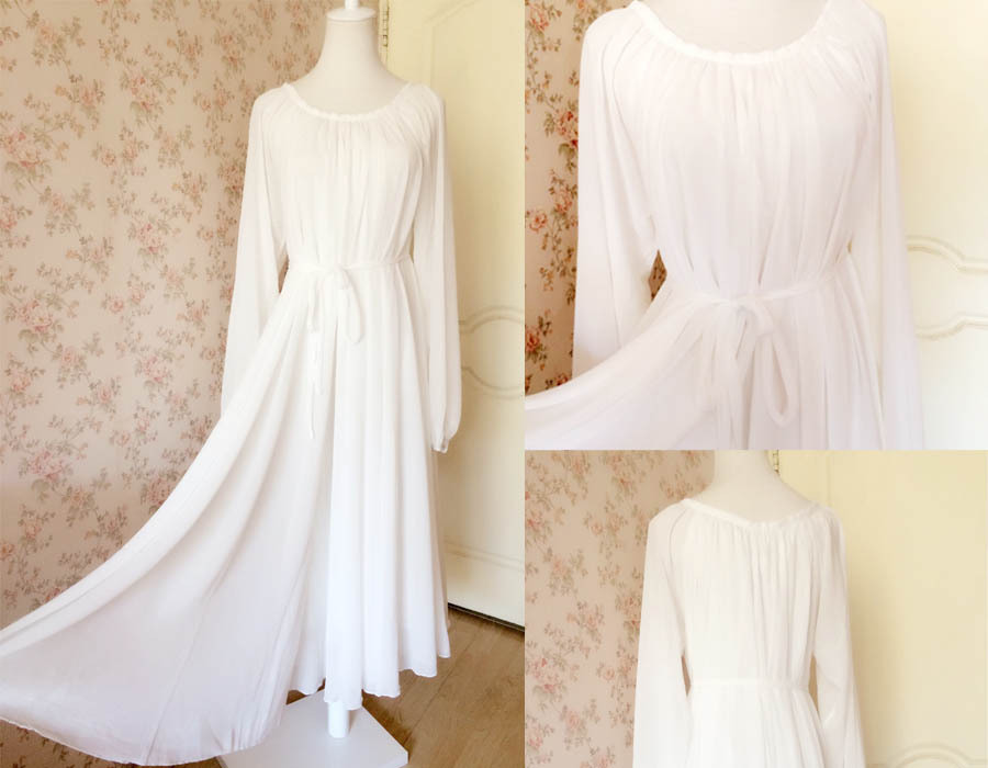 WHITE Chiffon Maxi Dress long sleeve Plus Size Maternity Dresses