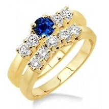 1.5 Carat Sapphire and Sim Diamond Five Stone Bridal Set on 14k Yellow Gold Fn  - $99.99