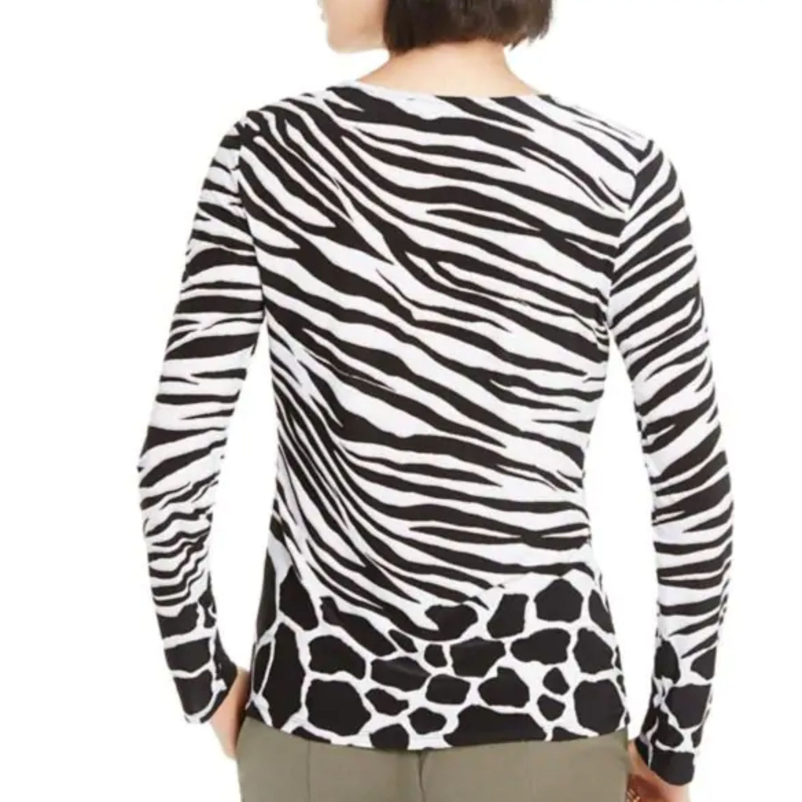 nwt Zebra Print Top Petite white/black L image 2